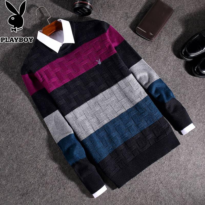 Wool Playboy Áo len dệt kim nam Áo len mùa thu mùa đông Đáy áo sơ mi nam sọc dài tay áo mùa thu Thanh niên - Kéo qua