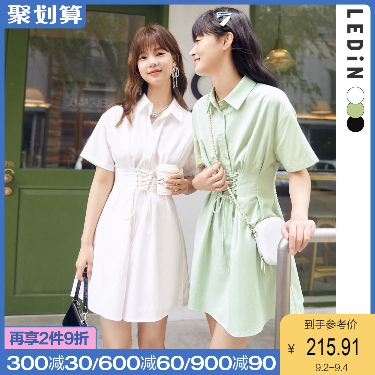 【新品】乐町气质连衣裙2021夏黑色白色裙子女收腰新款设计感薄款