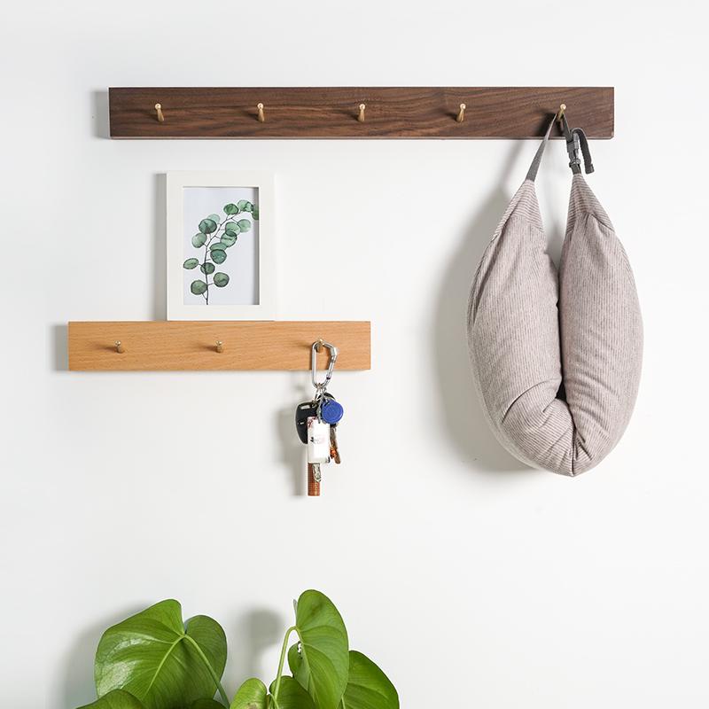 实木挂黄铜玄关衣架壁挂衣服质钥匙北欧门后挂钩墙上挂衣钩免打孔