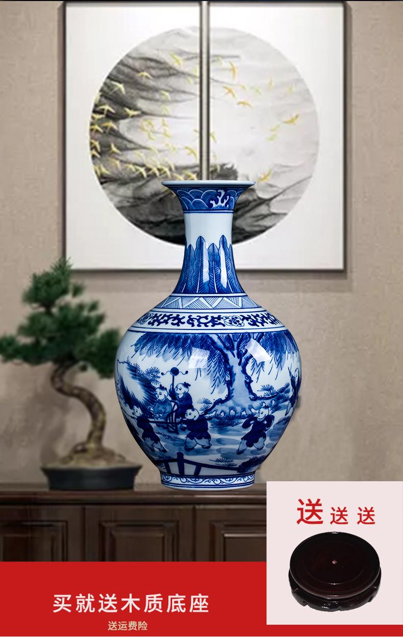 景德镇陶瓷器手绘青花瓷童子花瓶装饰摆件家居客厅玄关插花瓶礼品
