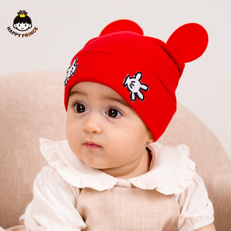 新生婴儿帽子春款男女童双层纯棉线卡通针织套头帽宝宝帽子春秋潮