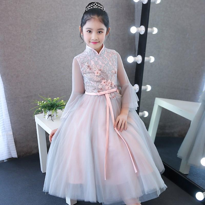 2018新款花童礼服女秋款 长袖 秋季大童女童钢琴演出服女款公主裙