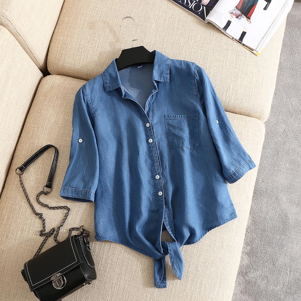 天丝牛仔衬衣女韩版夏款大码打结中袖小披肩薄款百搭防晒衬衫外套