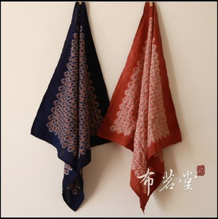 Buncha Hall intensive flowers set color small square towel plant blue tea towel head towel scarf 45 * 45cm