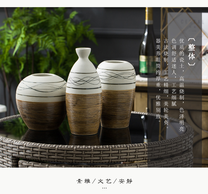Ceramic vase planting restoring ancient ways is dried flowers sitting room adornment art home furnishing articles American coarse pottery flower arranging I and contracted