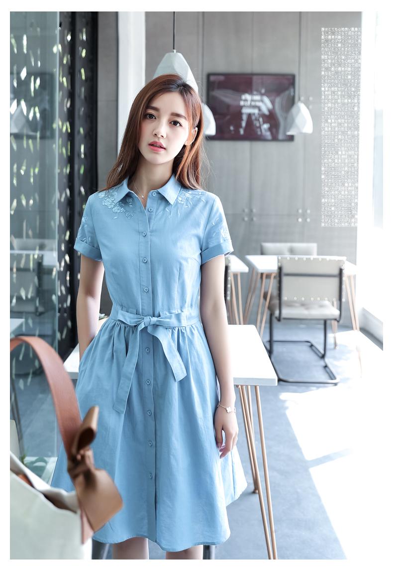 棉麻连衣裙女夏短袖棉立方2018新款韩版中长款显瘦刺绣小清新裙子