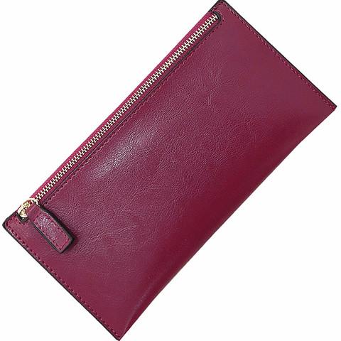 新款韩版女士油腊长款钱包 拉链真皮超薄款软皮钱夹 牛皮简约时尚