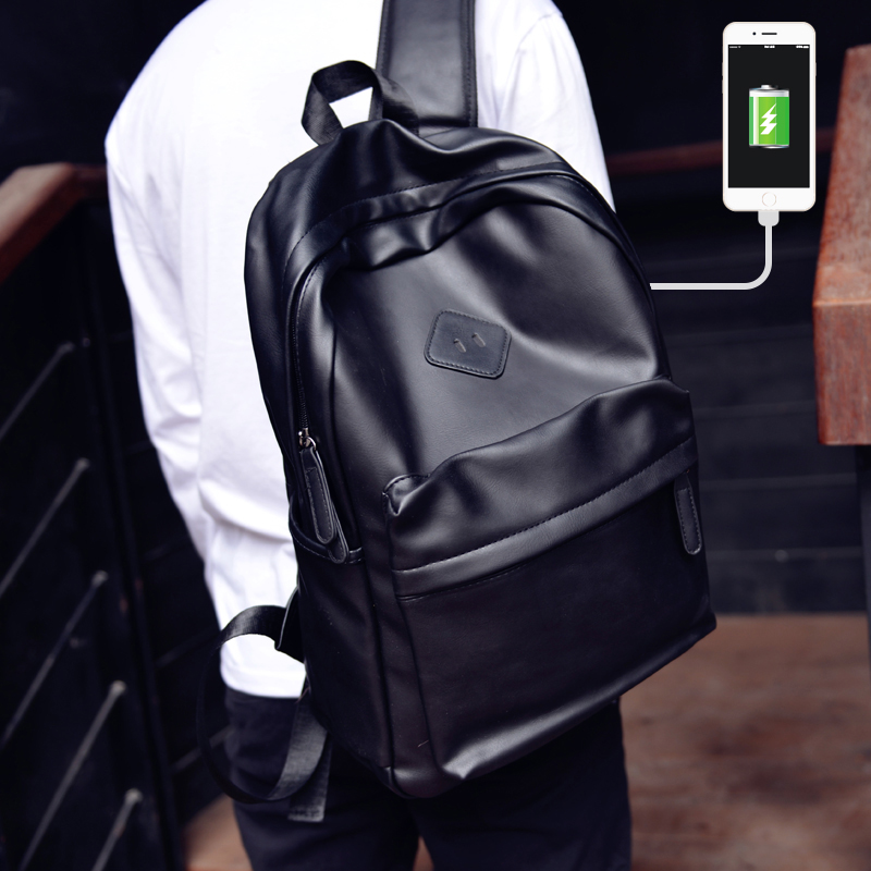 Shoulder bag male Korean version of the tide business casual fashion travel  computer backpack female PU 7fcfa6b1c4dae