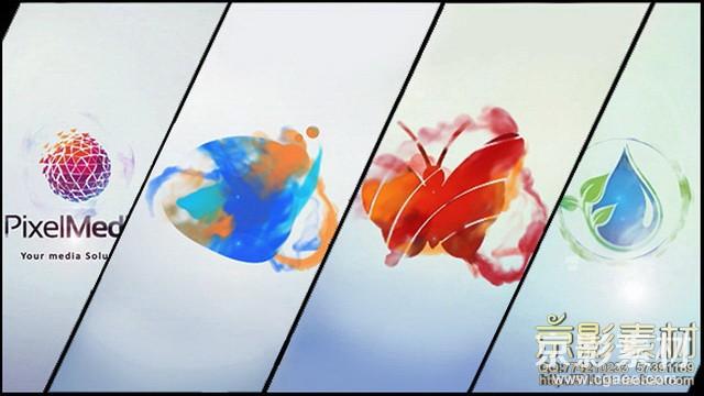 AE模板-简约彩色水墨标志展示片头Minimal Logo V03 Ink Ident