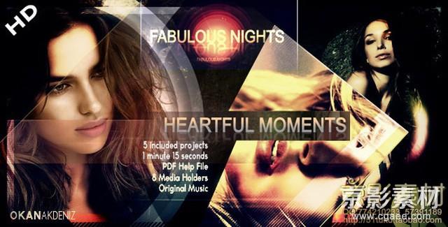 AE模板-唯美光圈图片展示片头 Fabulous Nights HD