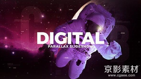 AE模板-数字科技感视差图片幻灯片展示片头 Digital Parallax Slideshow 20368185