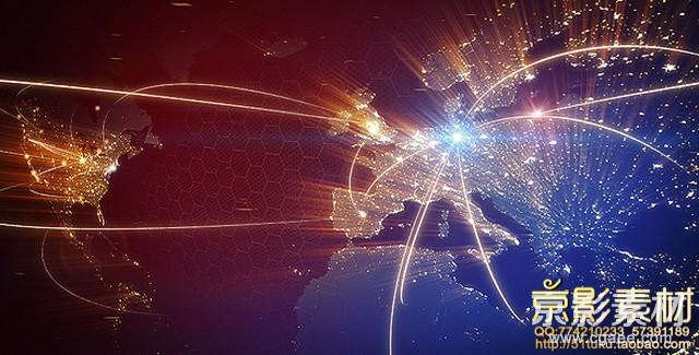 AE模板-光线连接世界地图模板 World Map Animation