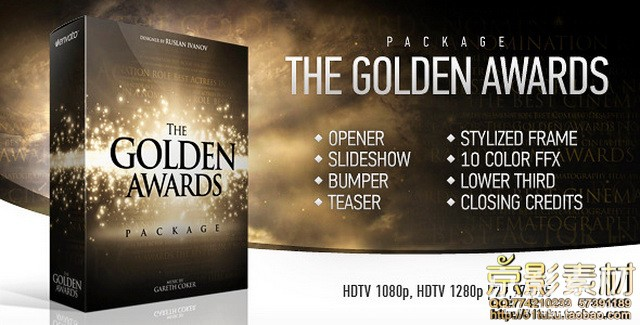 AE模板-大气奢华颁奖典礼片头 The Golden Awards Package