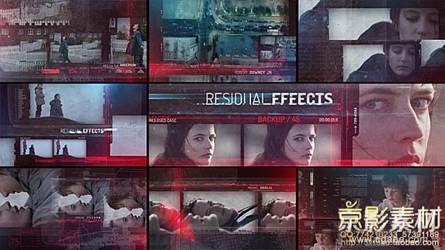 AE模板-高科技动感电影预告视频展示片头 Residual Effects-Movie Opening Titles