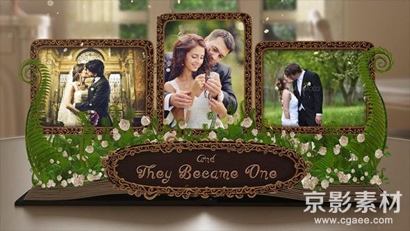 AE模板-婚礼照片弹出效果展示片头 Wedding Album Pop up Book
