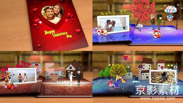 AE模板-情人节快乐折纸动画展示片头 Happy Valentine's Day