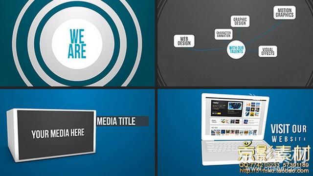 AE模板-扁平化公司动态展示动画片头Portfolio Company Motion Promo