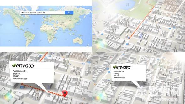 AE模板-三维地图搜索动画元素 3d Map Generator