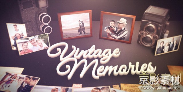 AE模板-复古优雅独特温馨家庭照片展示片头 Vintage Unique Moments