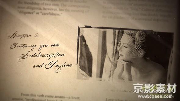 AE模板-复古翻书粒子婚礼相册展示片头 Wedding Album