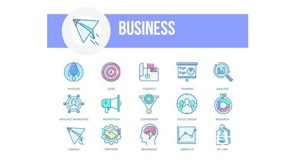 AE模板-商业轮廓动画图标元素Business Filled Outline Animated Icons