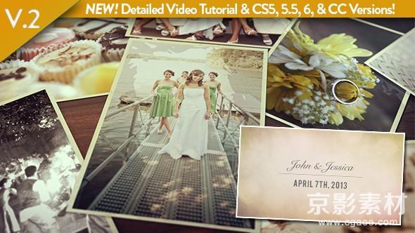 AE模板-唯美婚礼纪念照片展示片头 Wedding Photos Slideshow