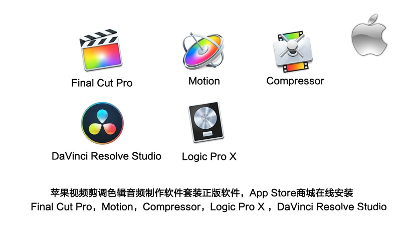 苹果视频剪辑调色音频制作软件Final Cut Pro+Motion+Compressor+Logic Pro X+DaVinci Resolve Studio