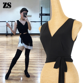 Latin dance tops ballroom dance top Dress V-neck Band Training dress women training top dance sexy sexy back