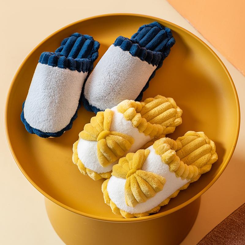 棉拖鞋女士冬季蝴蝶结月子鞋男家居日用舒适保暖防滑情侣软底加厚