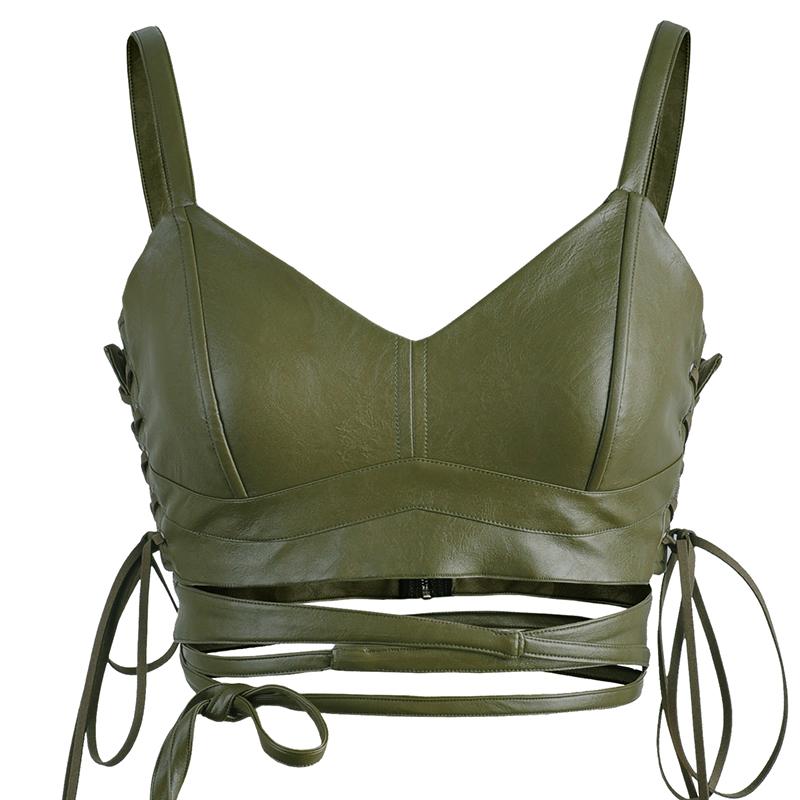 原创设计 绿色PU露脐外穿裹胸抹胸上衣 性感短款露腰绑带吊带背心