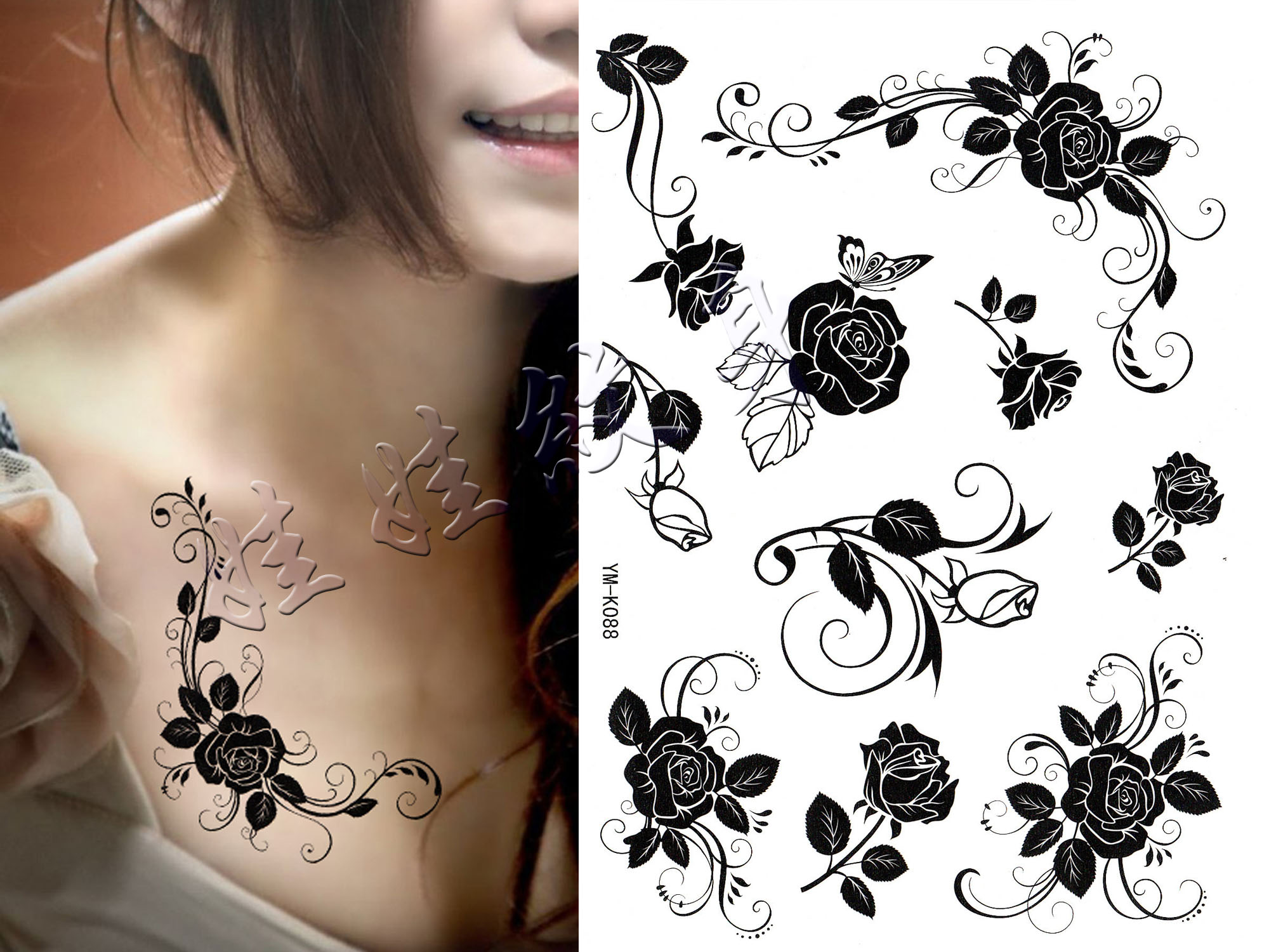 Black Rose Tattoo Stickers Waterproof Men And Women Sweat Lasting