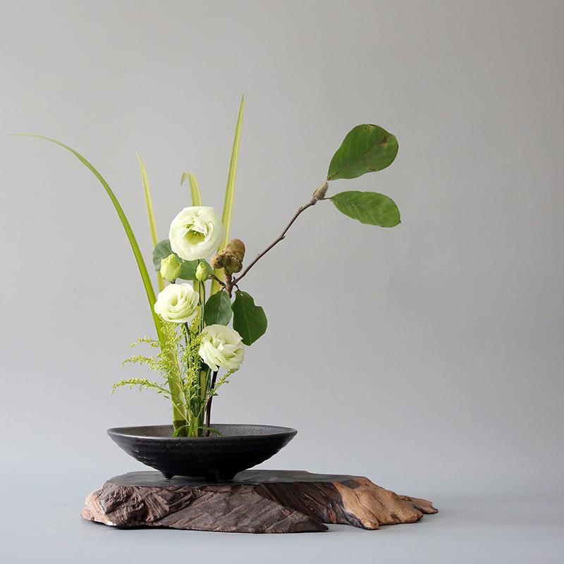 花盆花器花器剑山插底座中式v花盆禅意陶瓷花盘日式小原流花道器皿
