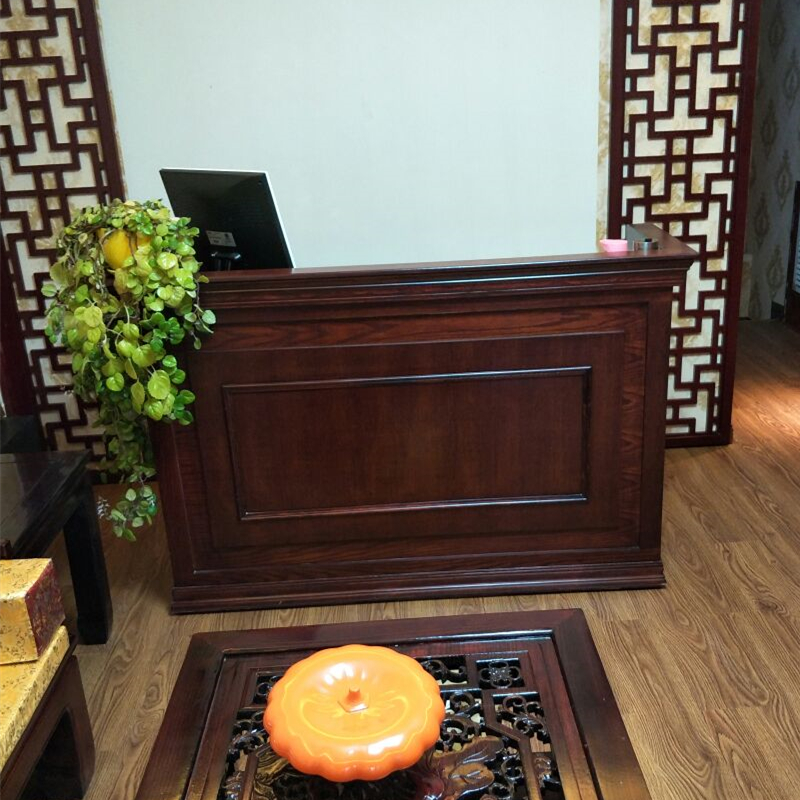 Retro Chinese Wooden Cashier Restaurant Counter Table Clothing Store Counter  Company Front Desk Simple And Modern
