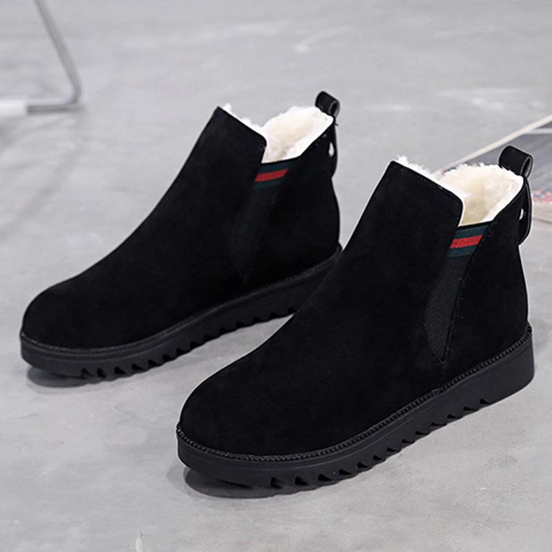 秋冬新款韩版加绒短靴马丁靴短筒雪地靴