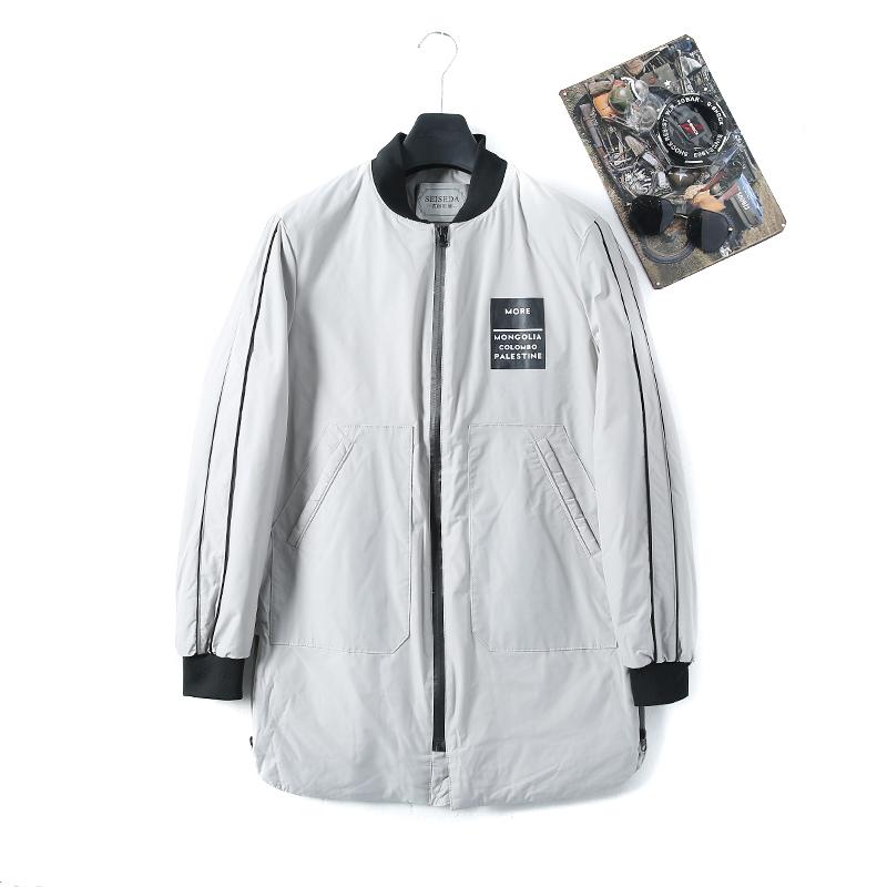 奇系列商场同款2019冬季新款棒球领长袖休闲男装中长款棉衣K2013