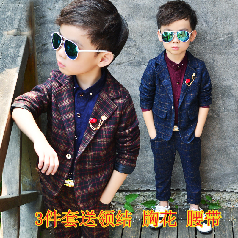 fd23565e 3 boys British suit three-piece suit 4 tide cool 5 children 6 spring and autumn  7 trousers shirt fashion dress suit 8 years old