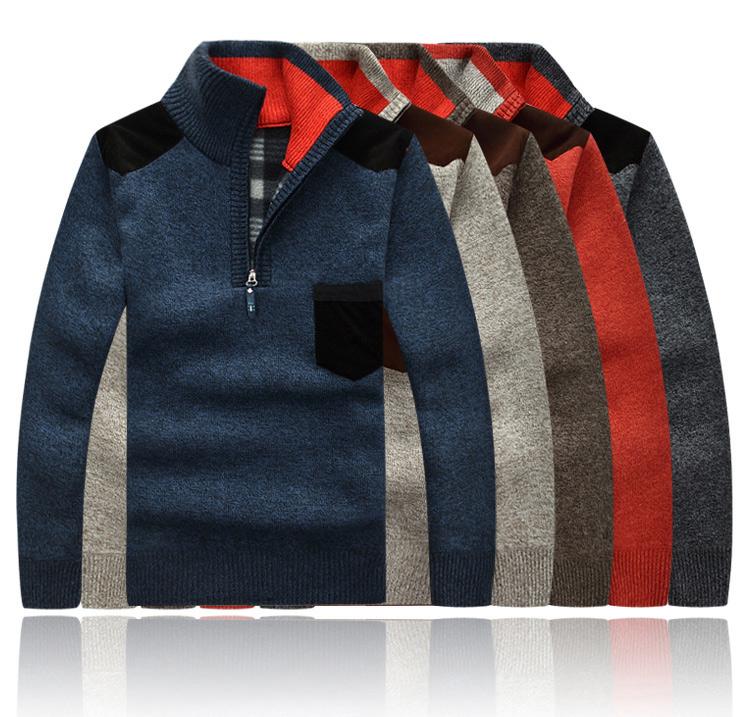 Áo len mùa thu và mùa đông nửa áo len cao cổ cộng với áo len dày, rộng, lỏng, ấm, áo len nam cộng với áo khoác XL nam béo - Cực lớn