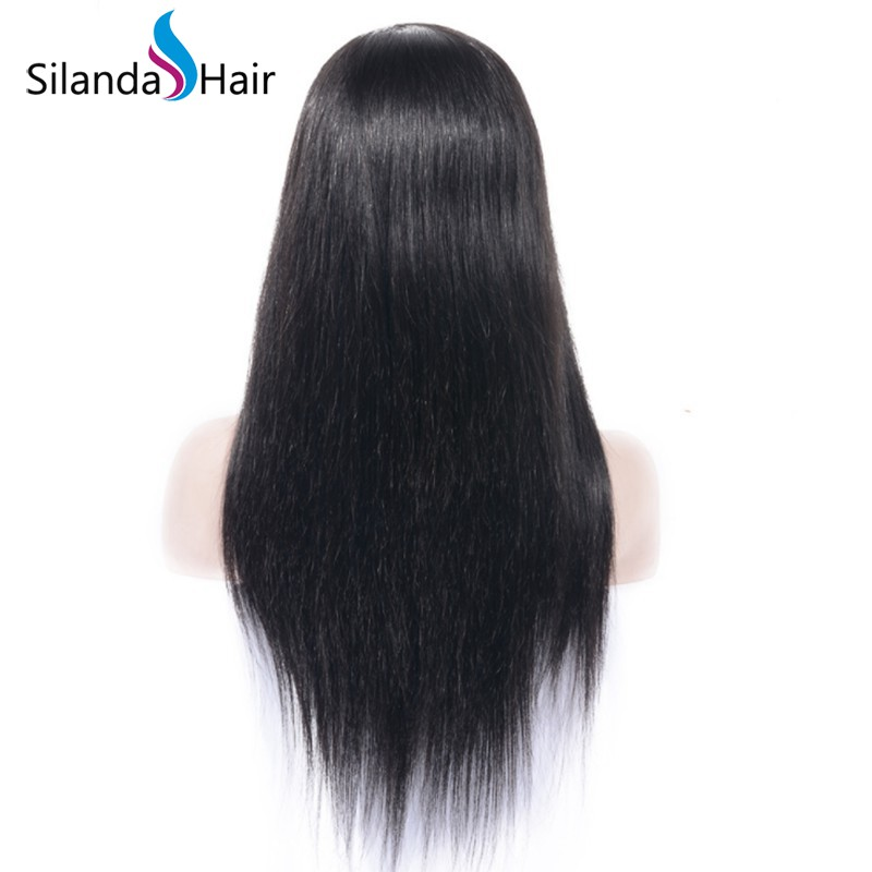 Silanda Hair Nice Natural Color Straight Brazilian Remy Human Hair Lace Front Full Lace Wigs with Bang