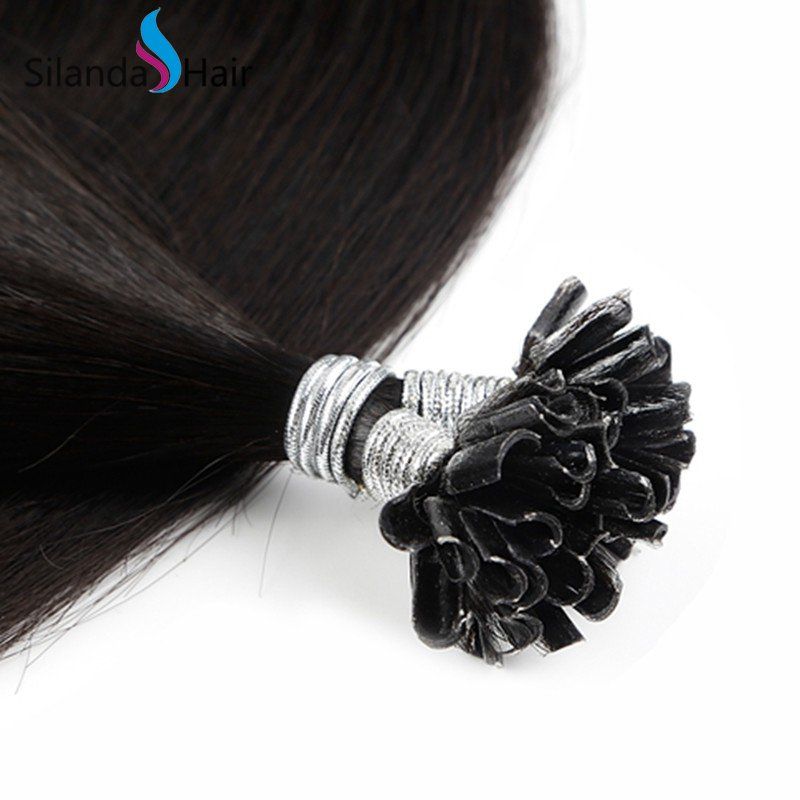 Silanda Hair #1B Natural Black Straight Remy Nail Tip U Tip Keratin Human Hair Extensions