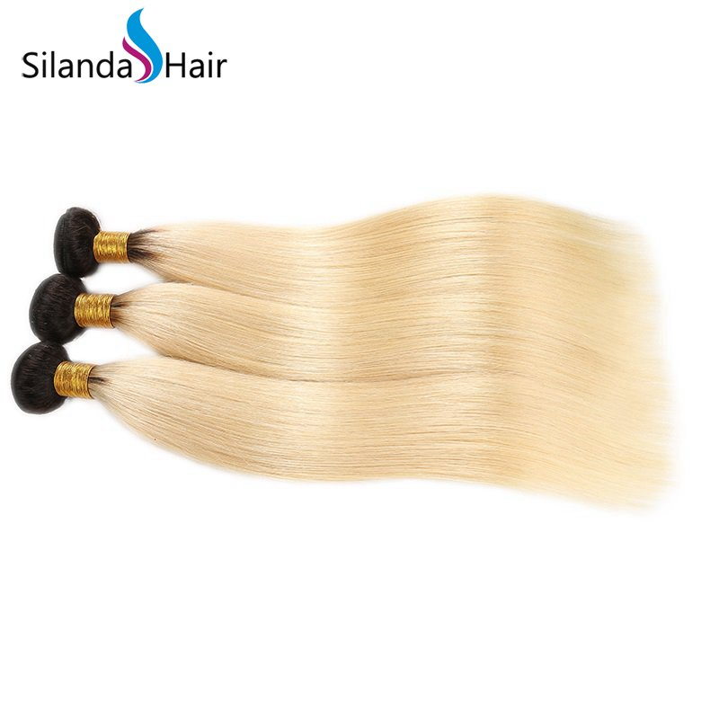 Silanda Hair Hot Sale #T 1B/613 Straight Brazilian Remy Human Hair Extensions Hair Weft 3 Bundles/Pack