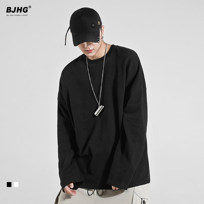 BJHG, unique consequences, autumn stack, long-sleeved t-shirt men's tide loose Oversize solid color