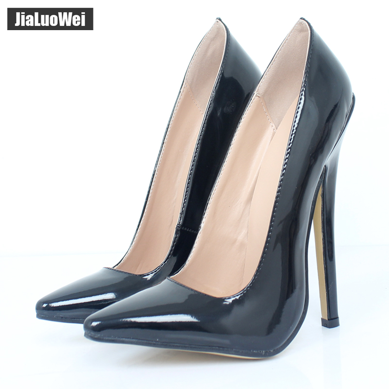 29070977bf6ad 36-46 yards pointed 18 cm fine high-heeled patent leather stockings SM high-heeled  high-heeled change CD dress fake mother's large size queen shoes