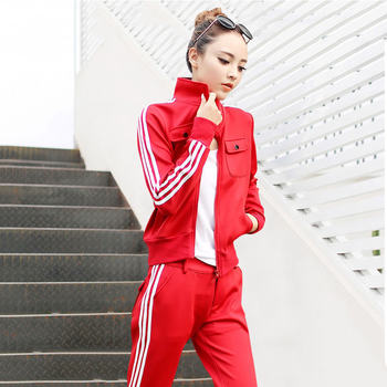 2020 popular women's sportswear suit spring models new fashion casual Western style two-piece red sweater by age