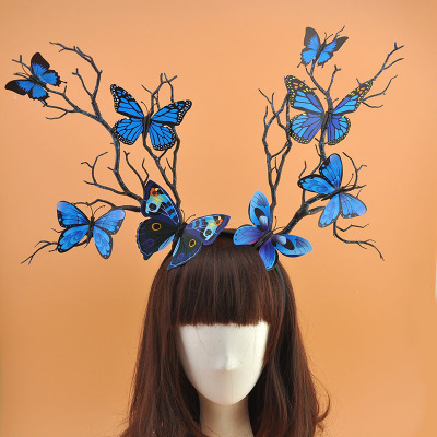 Party Mesh Hat  Stage Exaggeration Branch Hair Hoop Party Elf Headdress Blue Butterfly Sen Antler Hair Decoration Modeling European and American Night Club