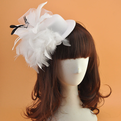Wedding Party Hats Hair Card Feather Flowers Headdress Wedding Hat
