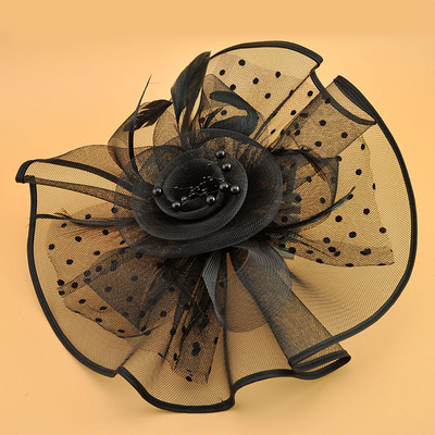 Wedding Party Hats  black hard mesh veil hat cap Horse Club Pearl hat veil hairpin
