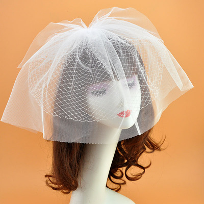 Wedding Party Hats White bride double-decked yarn headdress wedding dress mesh hairdress retro hairpin accessories