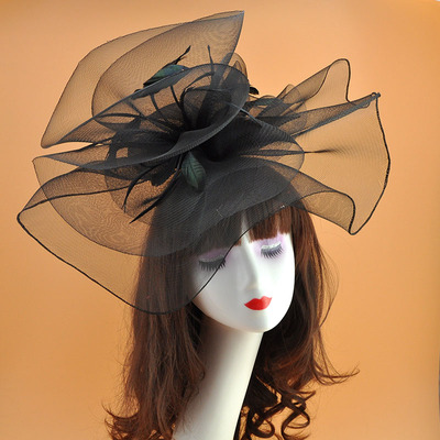 Model hairdressing show exaggerated retro screen feather headdress super Horse Club hat model stage performance hairpin