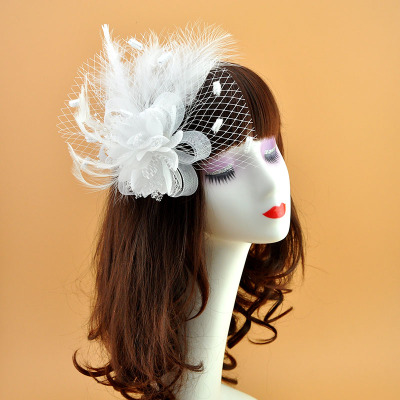 Feathers Wedding Party Hat Hair Card Feather Flowers Headdress Wedding Hat'