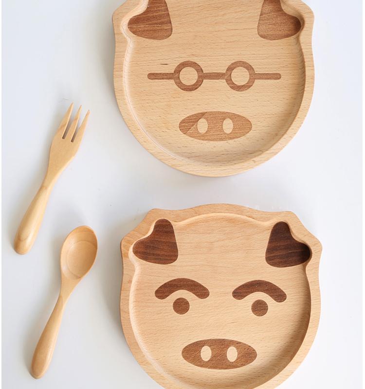 北的榉木小猪木盘新年礼物餐具猪年可爱卡通动物托盘宝宝辅食盘